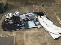 Burton Indie snowboard, bag, bindings, boots - size 10, mens pants(L) and gloves.