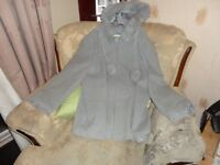 free guarter length coat brand new very soft with bobbles and hood size 26 to 28 look