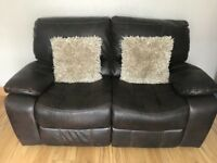 3&2 brown leather reclining sofas