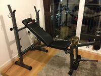 Bodymax CF342 compact folding bench +Barbell + weight plates