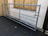 Galvanized Steel Paddock Farm Gate, excellent condition. Includes spring handle and hinges.
