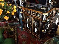Oriental. Laquerd pillow mother of pearl cabinet forsale