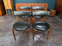 Set of 4 Fresco Dining Chairs with Vinyl Seat Pads by G Plan. Retro Vintage Mid Century 1960s
