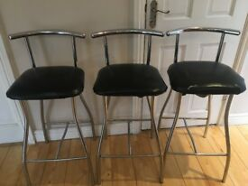 3 BLACK LEATHER KITCHEN HIGHCHAIRS/STOOLS | EXCELLENT CONDITION | £25