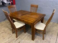 MAHOGANY WOODEN DINING TABLE EXTENDABLE WITH 4 CHAIRS