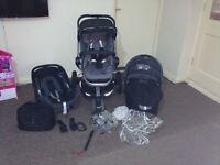 Quinny Buzz 3 Travel System Pram, Maxi-Cosi Car Seat and Carry coat