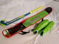 "Hockey stick, bag and shin guards, Kookaburra, 36.5"""