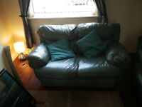 3 and 2 seater green leather couch free to collect