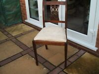 Dining Chairs- 5 in total. Hardwood frame with beige upholstery.
