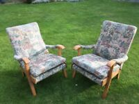 Oak framed solid Errol style chairs. Good condition. Buyer collect.