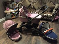 I-Candy peach 3 pram in Royal Blue and Marshmellow
