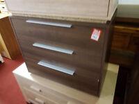 bergen 3 drawer chest walnut