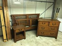 Wood double bed, chest of drawers, bedside cabinet,