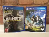 HORIZON ZERO DAWN & Call of Duty Infinite Warfare (no reedem codes), PS4 GAME