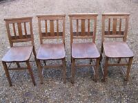 SET OF 4 OLD CHAPEL CHAIRS. Delivery poss. ALSO PINE CHURCH PEW & MORE CHAIRS