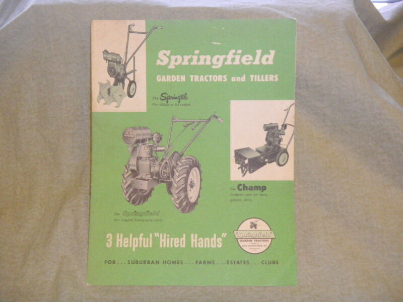 vintage Springfield Garden Tractors & Tillers catalog advertisment booklet