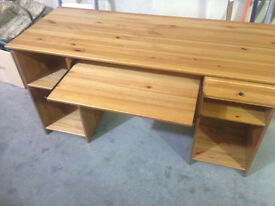 real pine wood desk IKea Matteus with drawer shelve