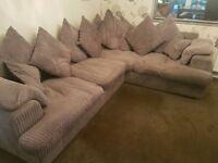 Grey Chenille Corner Sofa and Footstool