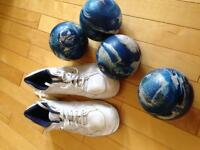 Men's bowling balls and shoes