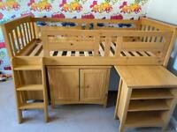 Kids Single Cabin Bed with desk, drawers & bookcase