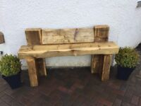 Solid wooden garden bench