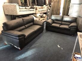 DESIGNER BLACK REAL ITALIAN LEATHER 3 AND 2 SEATER SOFA SET THREE PLUS TWO FREE DELIVERY