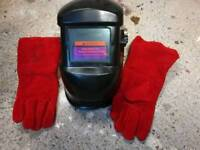 Welding mask and welding gloves