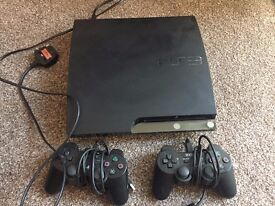 PS3, 2 controllers and power cables, A selection of games