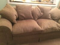 2-3 Seater fabric Sofa, + spare cover, 5 x cushions.