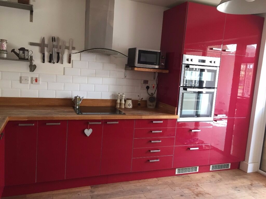 Kitchen Units Red Gloss Including Integrated Fridge Freezer Sink And Tap Rox