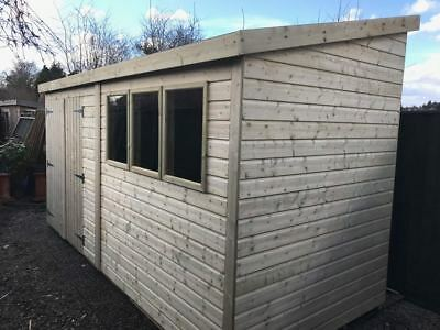 14 x 7 19mm Pent Tanalised Shed HEAVY DUTY reverse roof