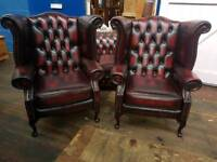 Pair Of Oxblood Chesterfield Queen Anne Chairs