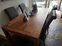 Large indian rose wood dining table & four chairs