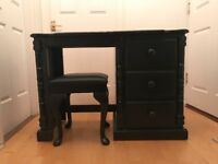 HANDMADE WOODEN BLACK DRESSING TABLE & LEATHER TOOL