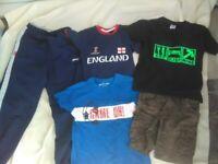 Boys clothes bundle 7-8 Slazenger Tracksuit Bottoms + football T-shirts + khaki shorts only £3.50