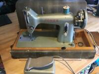 Vintage Jones Sewing Machine Model B with Foot Pedal & Case Antique