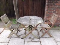 Teak Wood Garden Table and 2 Chairs Folding Table and Chairs Well Made