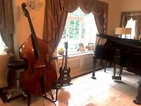 Stentor 1950 Double Bass 3/4 size w/ Bow,Hercules stand & bag