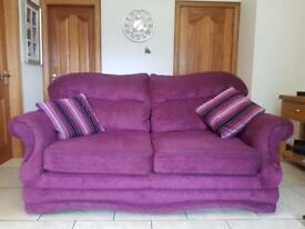 3 seater grape fabric sofa