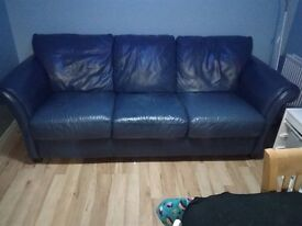 Dark blue leather 4 seater sofa for sale