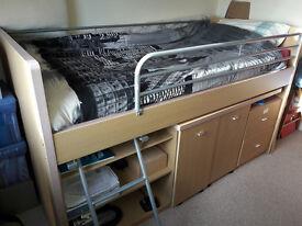 bunk bed single w. storage & desk