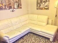 Cream lethar corner sofa