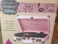 Crosley Portable Turntable - Urban Outfitters exclusive - pink faux leather