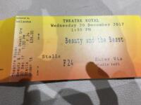 3 tickets for beauty and the beast theatre royal nottingham