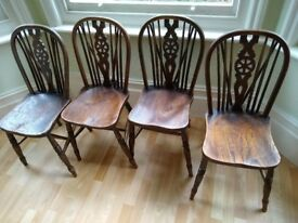 Antique wheel back windsor classic cottage style OAK dinning chairs