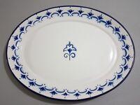 Large elegant blue and white metal serving tray