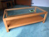 Coffee table, beech wood, glass top, large.