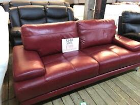Red leather sofa settee 3 seater