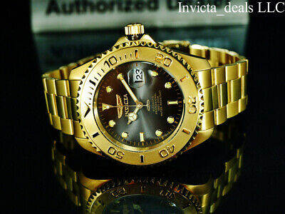 Invicta Men's 47mm Pro Diver SUBMARINER AUTOMATIC Charcoal Dial Gold Tone Watch