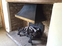 Large Hand Made Cast Iron Magiglo Open Gas Fire with Canopy